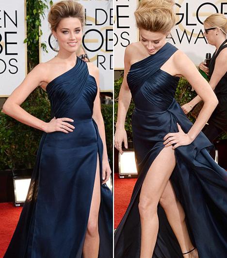 Amber Heard  Johnny Depp mostani barátnője egy Versace darabot választott, ám a magas kivágással meggyűlt a baja. Kapcsolódó cikk: Botrányos szakítás! Egy nőre cserélte le párját a közkedvelt színésznő