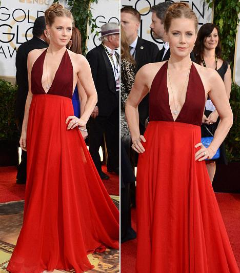Amy Adams  Az Amerikai botrányban nyújtott alakításáért megkapta a legjobb színésznőnek járó díjat. Valentino-ruhája pedig igazán figyelemfelkeltő volt. Kapcsolódó cikk: Nem túl merész a vörös szőnyegre? A szolid színésznő mélyen dekoltált ruhában jelent meg