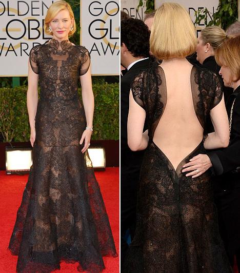 Cate BlanchettA színésznő dráma kategóriában elhozta a legjobbnak járó szobrot. A díjátadóra egy merész hátú Valentino csipkeruhát választott.Kapcsolódó cikk:Csak egy kis csipke takarta! Jószerével meztelenül jelent meg a színésznő