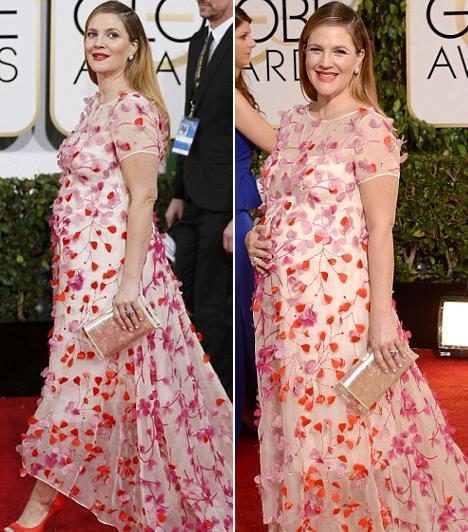 Drew Barrymore  Az állapotos színésznő egy igen színes Monique Lhuillier-darabot választott a Golden Globe-gálára. Kapcsolódó cikk: Biztos, hogy posztolni akarta ezt a képet? Drew Barrymore őrülten bohóckodik friss fotóin