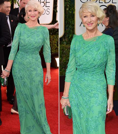 Helen Mirren  A Phil Spectorban nyújtott alakításáért jelölt brit színésznő Jenny Packham-ruhát választott. A türkiz szín remekül illik szőke hajához. Kapcsolódó cikk: Még az alsóneműje is látszott! Átlátszó csipkeruhában jelent meg a 68 éves színésznő