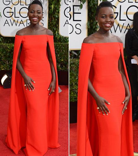 Lupita Nyong'o  A 12 év rabszolgaság sztárja egy piros Ralph Lauren ruhát vett fel.