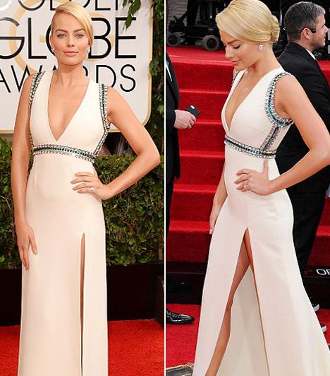 Margot Robbie  A Wall Street farkasával híressé vált színésznő viselte a 2014-es Golden Globe egyik legmerészebb ruháját. A Gucci kreáció ugyanis olyan mélyen fel volt hasítva, hogy jószerével mindene kilátszott.