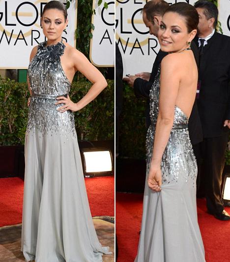 Mila Kunis  A világ egyik legszebb nőjének választott színésznő egy ezüst Gucci-ruhában parádézott. Kapcsolódó cikk: Meglepő döntés! Ez a barna színésznő lett idén a legszexisebb nő - Meztelenül pózolt!