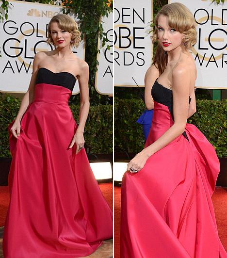 Taylor Swift  Az énekesnő rózsaszín Carolna Herrera ruhájában minden tekintetet magára vonzott.