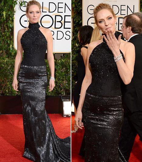 Uma Thurman  A színésznő egy fekete Atelier Versace selyem-csipke ruhát választott.