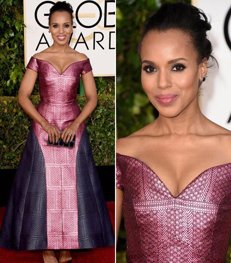 Kerry WashingtonA 37 éves színésznő egy gyönyörűMary Katrantzou ruhában pompázott a Golden Globe-on.