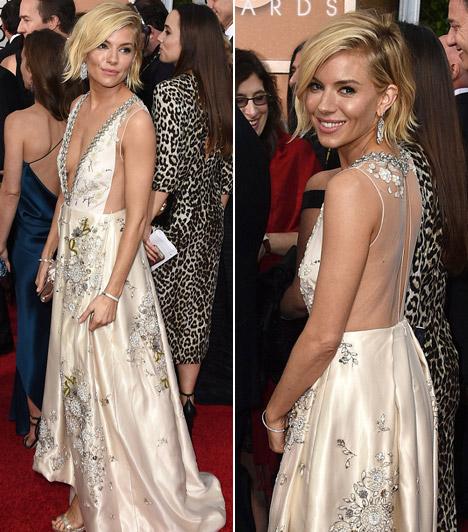 Sienna MillerA színésznő szerint 2015 a brit színésznők éve lesz. A Golden Globe-gálára egy Miu Miu darabban érkezett.