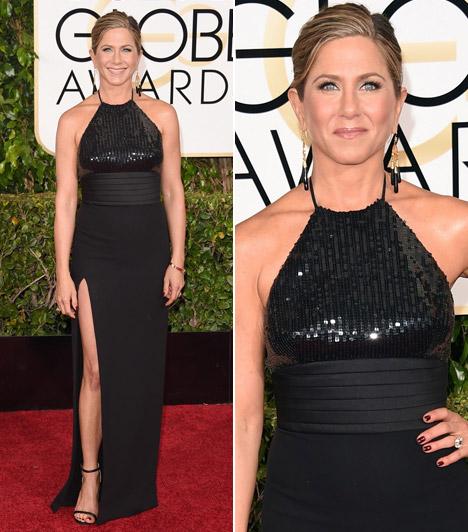 Jennifer AnistonA Jóbarátok egykori sztárját Cake című új filmje miatt jelölték a legjobb színésznőnek járó díjra. A gálára egy feketeSaint Laurent ruhát választott.