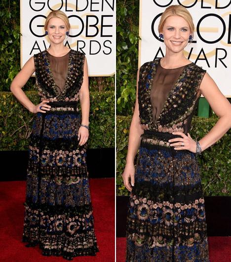 Claire DanesA Homeland sztárja egy virágmintásValentino ruhát választott a Golden Globe-ra.