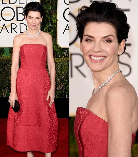 Julianna MarguliesJulianna Margulies egy Ulyana Sergeenko ruhát választott. A színésznőt A férjem védelmében sorozatban nyújtott alakítása miatt jelölték Golden Globe-ra.