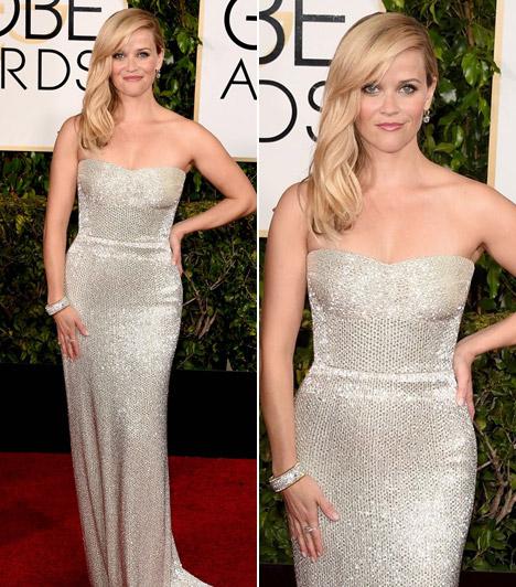 Reese WitherspoonA színésznő egy flitterekkel díszítettCalvin Klein darabot választott, hozzá pedigTiffany ékszereket.