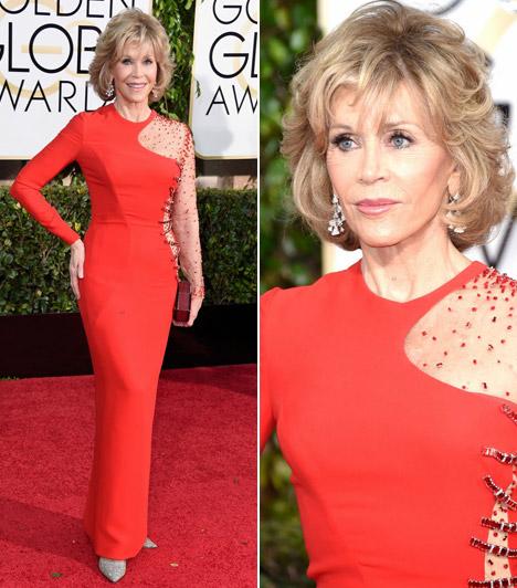 Jane FondaA 77 éves színésznő hozta formáját és fiatalokat megszégyenítő módon tündökölt a Golden Globe-on.