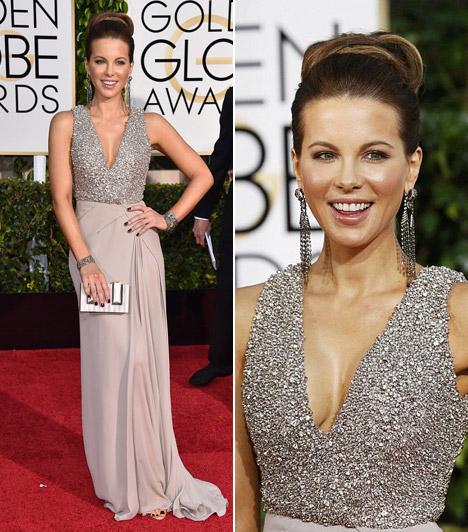 Kate BeckinsaleA 41 éves színésznő egy ezüst, mellrésznél kristályokkal és flitterekkel díszítettElie Saab ruhát választott.