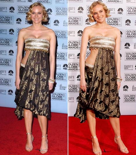 """Diane Kruger - 2005  Diane Kruger élete egyik legrosszabb döntésének tartja a 2005-ös gálán viselt Marchesa ruhát. """"A köldököm kint van belőle, mindenhol máshol pedig hosszan lóg az anyag. Nem is értem, miért ezt választottam"""" - nyilatkozta később."""