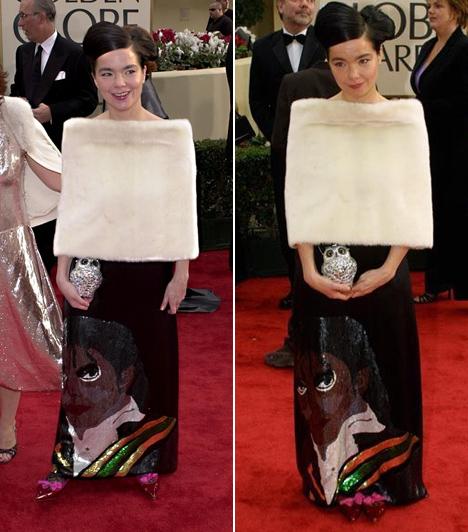 Bjork - 2001  Habár az énekesnő a 2001-es évben az Oscar-gálán viselt rémes hattyúruhájáról vált ismertté, ez a Michael Jackson arcképét ábrázoló darab talán még azon is túltesz.
