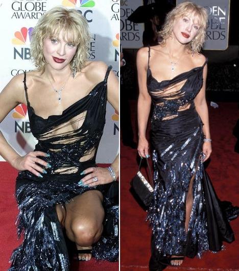 Courtney Love - 2000  Ahol ki lehet vágva egy ruha, ott Courtney Love John Galliano ruhája bizony ki van. A divatbloggerek szerint az énekesnő 2000-ben úgy nézett ki a gálán, mint akit alaposan megtépett egy óriási madár.
