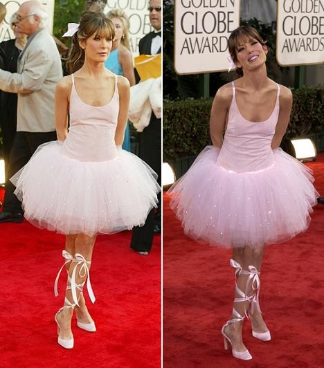 Lara Flynn Boyle - 2003  Egy kislány bizonyára tüneményes lenne egy ilyen rózsaszín tütüben, azonban Lara Flynn Boyle a 2003-as díjátadón inkább nevetséges volt, mint cuki. A hajába kötött hatalmas masni sem sokat segít a divatbakin.
