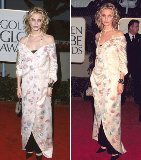 Cameron Diaz - 1999  A színésznő élete első Golden Globe-gáláján ebben a Chloe ruhában vett részt. Nem is tudjuk eldönteni, hogy mi a legrosszabb - a bő, kimonószerű felsőrész, az alatta megbújó trapéznadrág vagy függönyzsinórra hasonlító nyaklánc.