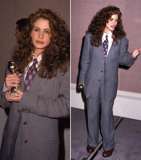 Julia Roberts - 1990  Nem tudjuk, mire gondolhatott Julia Roberts, amikor magára öltötte ezt a túlméretezett öltönyt, amit valószínűleg édesapja ruhásszekrényéből húzott elő. Azóta szerencsére sokat fejlődött a stílusérzéke.