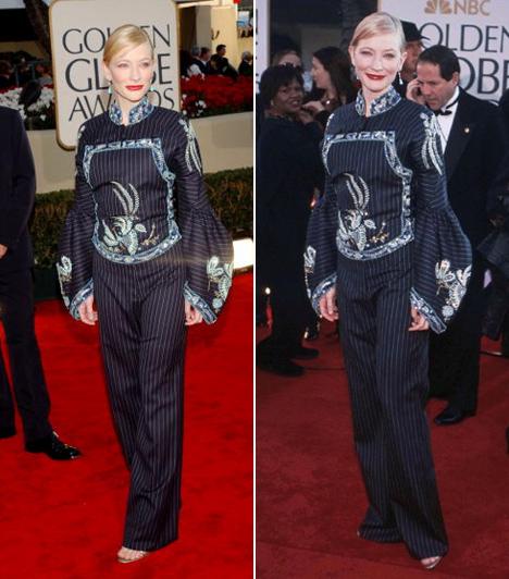 Cate Blanchett - 2002  Az általában stílusos és elegáns Cate Blanchett igencsak mellélőtt a ruhaválasztásával a 2002-es Golden Globe-gálán. Nem is tudjuk eldönteni, hogy a bő ujj, a fényes és csíkos anyag vagy a mellkasán lévő minta rontja-e leginkább az összhatást.