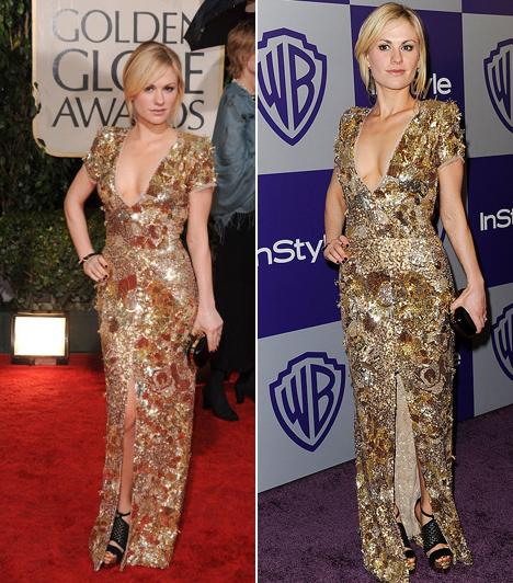 Anna Paqiun - 2010  Anna Paquin aranyszínű, csillogó, Stella McCartney által tervezett ruhájának sokan a csodájára jártak. Nem csoda, hogy abban az évben őt választották meg a legjobban öltözött színésznőnek.