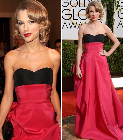 Taylor Swift - 2014  A countryhercegnő Taylor Swift a 2014-es Golden Globe-gálán kápráztatott el mindenkit ebben a rózsaszín-fekete, Carolina Herrera által megálmodott darabban.