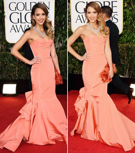 Jessica Alba - 2013  Jessica Alba olívaszínű bőrét remekül kihangsúlyozta ez a barackszínű Oscar de la Renta ruha 2013-ban. A sellőfazon különösen jól állt homokóra alakján.