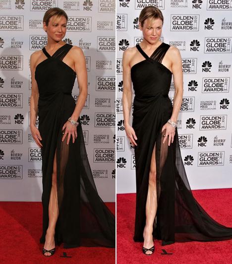 Renée Zellweger - 2006  Renée Zellweger csak úgy tündökölt 2006-ban a Golden Globe-on ebben a Carolina Herrera ruhában. Egyszerre elegáns és szexi, pont ilyen egy tökéletes kis fekete.