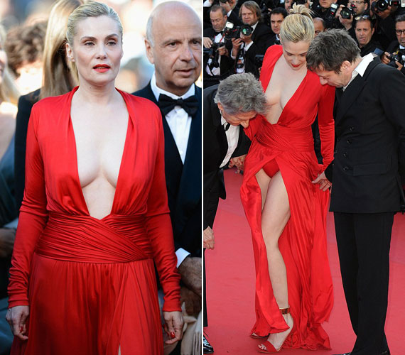 Az ember azt hinné, a francia színésznőknek van stílusa, ám Roman Polanski 47 éves felesége, Emmanuelle Seigner rácáfolt erre: tűzpiros ruhájában félig fedetlen melleit és alsóneműjét is közszemlére tette.