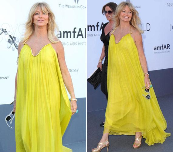A 67 éves színésznő úgy nézett ki az amfAR Cinema Against AIDS gáláján, mintha magára kanyarított volna egy rikítóan sárga függönyt.