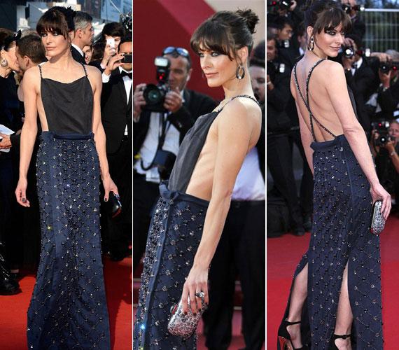 Milla Jovovich Prada estélyi ruhájával nem lett volna gond, ha abban a modell és színésznő nem mutatja meg zörgő csontjait.