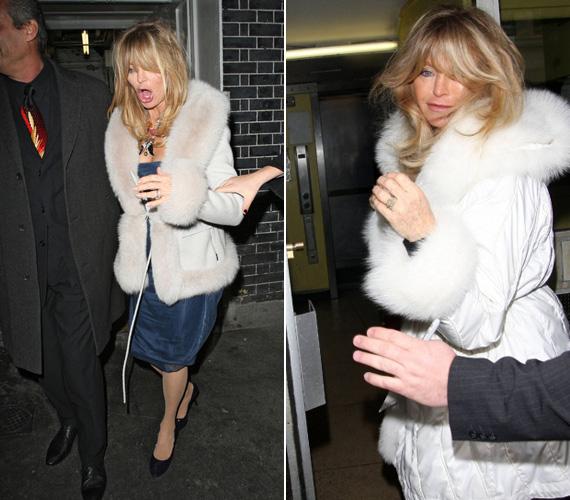 Mindkét oldalról támogatni kellett Goldie Hawnt, hogy menni tudjon.