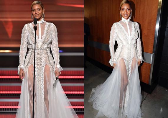 Beyoncé egy viktoriánus kor ihlette csipkecsodában lépett a vörös szőnyegre, amit Inbal Dror, izraeli tervező álmodott meg. Az énekesnő biztosra ment: kombinálta a kígyóbőr mintát, az átlátszó betétet és a magas felsliccelést is a szexi hatás kedvéért.