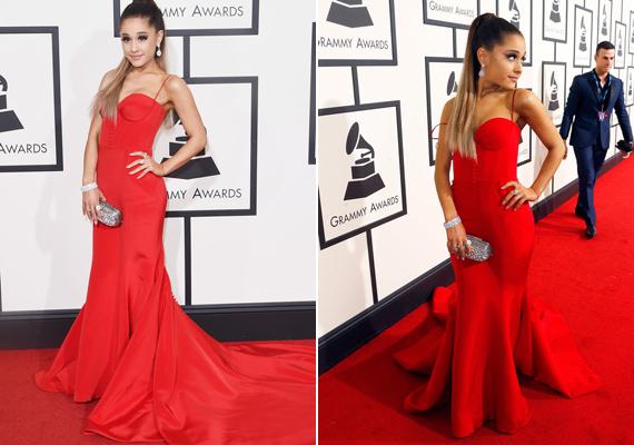 Ariana Grande szintén pirosban tündökölt. Gyönyörű estélyije Romona Keveza divattervező keze munkáját dicséri.