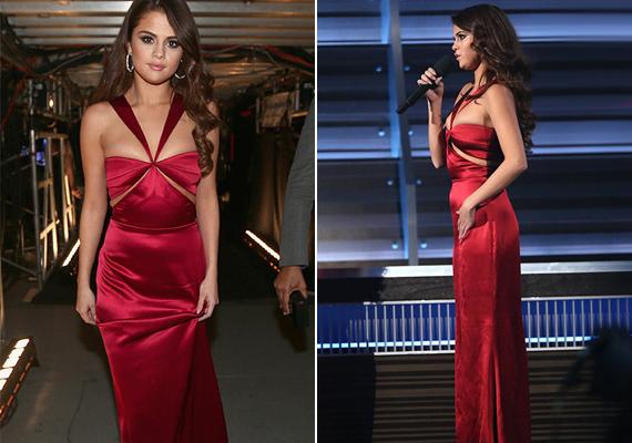 Selena Gomez a New York-i divathétről választott magának ruhát. Három napja szeretett bele ebbe a vörös Cushnie et Ochs-ruhába, amit a díjátadóra rá is szabtak.