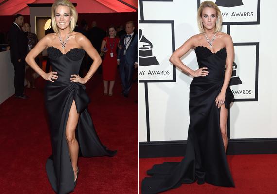 A country-királynő, Carrie Underwood ruhája megosztotta a divatbloggereket. Sokak szerint lélegzetelállítóan festett ebben a fekete Nicolas Jebran-ruhában, míg mások nem találták alkalomhoz illőnek az estélyit.