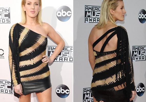 A Love Me Like You Do című topsláger énekesnőjét, Ellie Gouldingot sem takarta sok anyag, a ruhája nagy része aranyszínű csövecskékből állt, amiken keresztül még szürke tangabugyiját is látni lehetett.