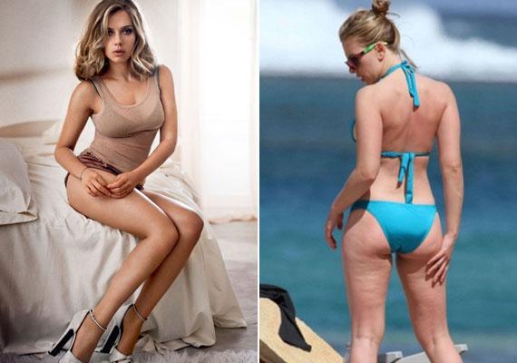 A 31 éves Scarlett Johanssont a legszexisebb színésznők között emlegetik, ám amint lekerül róla az estélyi, a kényes területek rögtön megmutatkoznak. Ég és föld a különbség a bal oldali retusált fotó és a jobb oldali kép között.