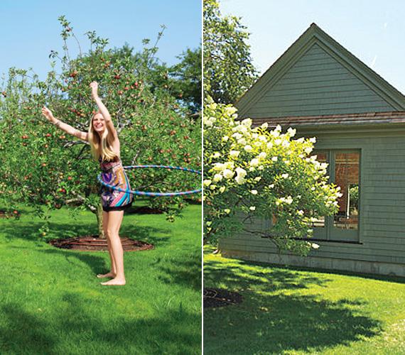 A kényelmes nyári lakhoz kert és gyümölcsös is tartozik, ami nagy előny, hiszen a színésznő gyermekei - Apple és Moses - így a szabadban is játszhatnak.