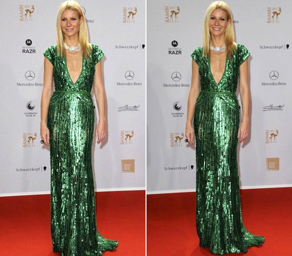 Gwyneth Paltrow talpig zöldben - melltájékon igencsak kispórolták az anyagot a ruhából.