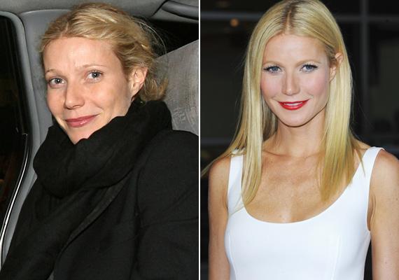 Gwyneth korábban is osztott már meg smink nélküli fotót magáról, hiszen büszke természetes arcára. Ezen a képen jól látható a különbség a natúr és sminkkel felturbózott arca között.
