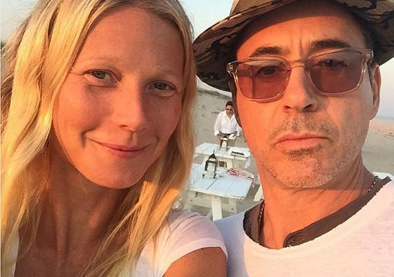 """Robert Downey Jr. csak ennyit kommentált a fotóhoz: """"Így szeretem Pepperonyt!"""" Aki nem értené a célzást, a Vasemberben Pepper Potts - Gwyneth karaktere - és Tony Stark - Robert karaktere - összemosott nevéből jött ki a Pepperony szócska."""