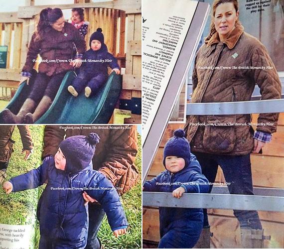 A fotók a New Idea magazin április 20-i számában jelennek majd meg, de a British Monarchy Heir nevű Facebook-oldalnak sikerült megszereznie egy példányt az újságból, és posztolták is a képeket. Ezeken a várandós Katalin hercegnő együtt mókázik kisfiával, aki láthatóan élvezi a friss levegőt.