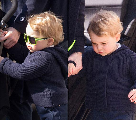György herceget áprilisban többször is sikerült lencsevégre kapni, ez a fotó akkor készült, amikor a fiúcska dadusával indult valahova. A trónörökös minden eddiginél vagányabb volt, egy 10 dolláros, zöld napszemüveget viselt. Nem nehéz kitalálni, hogy ezt a gyerekszemüveget még azon a héten elkapkodták, azóta hiánycikknek számít.