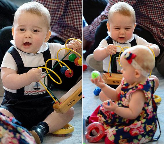 György herceg már egészen pici kora óta dumál, igaz eleinte csak artikulálatlan baba hangok jöttek ki a torkán. Mostanra már egyre szebben beszél, a múltkor például kiderült, hogy becézi a királynőt.