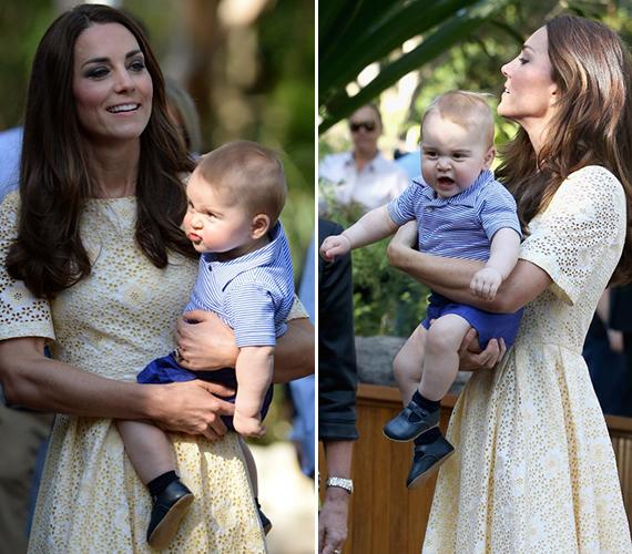 Katalin hercegnőnek sokat kellett birkóznia kisfiával, ha azt szerette volna, hogy normális fotók készüljenek róluk. Ez még így sem mindig sikerült, de ezek a képek éppen a kis herceg grimaszaitól annyira édesek.