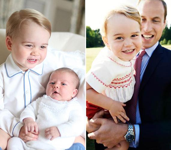 A bal oldali fotó az első közös kép, amelyen György herceg és Charlotte hercegnő együtt szerepel. A jobb oldali pedig Charlotte júliusi keresztelője után készült a királynő sandringhami házának kertjében. A palota tegnap tette közzé.