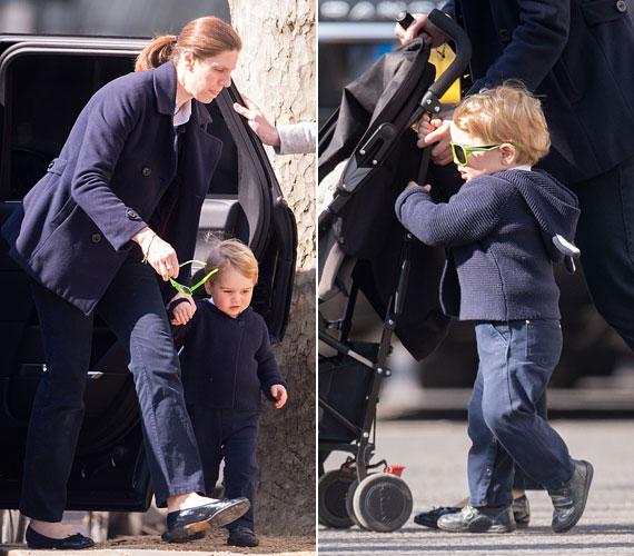 György herceget ezúttal a dadusával, Maria Teresa Turrion Borrallóval kapták lencsevégre, a kicsi fiú zöld keretes napszemüveget és nyuszifüles kardigánt viselt.