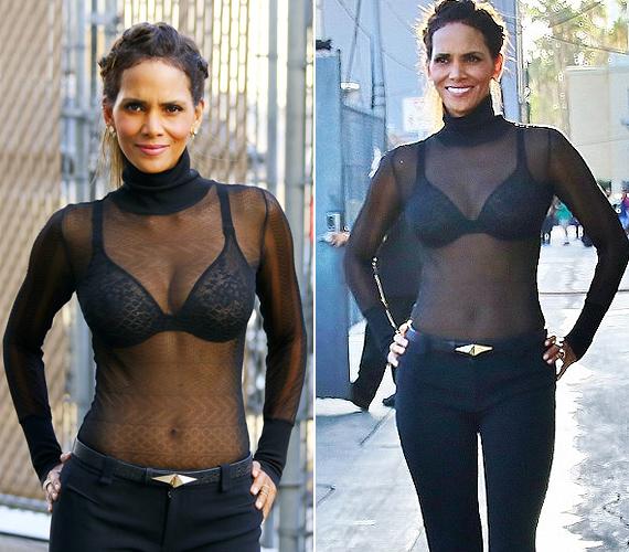 Íme, az átlátszó ruhadarab, amiről mindenki beszél. Sokat nem bíz a fantáziára, de lássuk be, Halle testét 49 évesen is bármelyik fiatal megirigyelhetné.